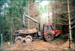 Extraction of felled timber from a harvesting operation